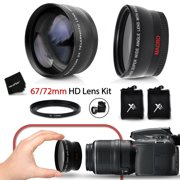 PRO 67mm Wide Angle Lens w/ Macro + PRO 67mm 2 x Telephoto Lens KIT + 67mm-72mm Step-up ring for All 67mm Lenses and Cameras