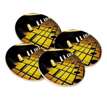 KuzmarK Sandstone Drink Coaster (set of 4) - Sheet Music On Piano Keys ()