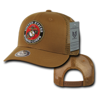 USMC Marines, Official Back to the Basics Mesh Trucker Hats Caps, Coyote