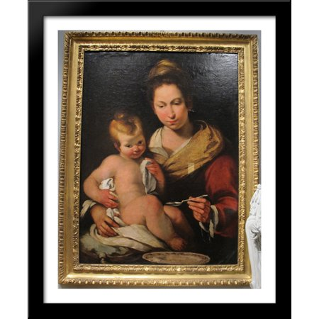 Madonna Della Pappa 28X34 Large Black Wood Framed Print Art By Bernardo Strozzi