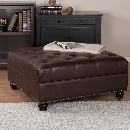 Dorel Home Hastings Tufted Faux Leather Ottoman, Brown