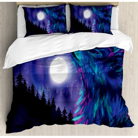 Moon Duvet Cover Set, Northern Imagery with Aurora Borealis Wolf Spirit Magical Forest Starry Night, Decorative Bedding Set with Pillow Shams, Indigo Aqua Magenta, by