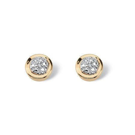 Round White Diamond Accent Cluster Stud Earrings in Solid 10k Yellow Gold (10k Gold Cluster Earrings)