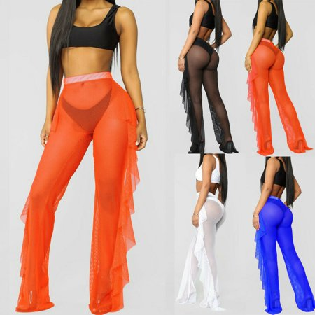 The Noble Collection Womens Beach Mesh Sheer Wide Leg Pants Ruffle Bikini Cover Up Flared