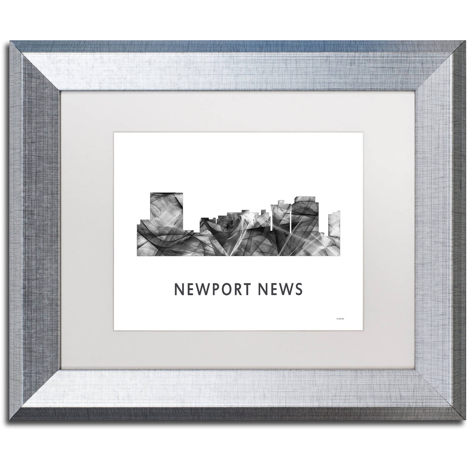 Trademark Fine Art 'Newport News VA Skyline WB-BW' Canvas Art by Marlene Watson, White Matte, Silver Frame