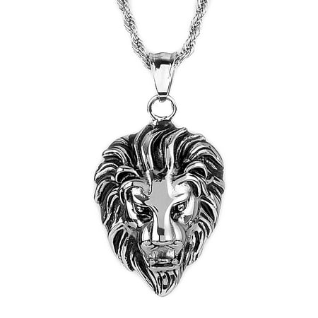 Stainless Steel Lion Head Pendant - Penn State Nittany Lions Necklace