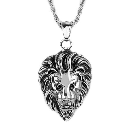 Stainless Steel Lion Head Pendant Necklace