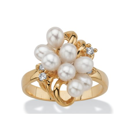 Cultured Freshwater Pearl and Crystal Accent Cluster Cocktail Ring 14k Yellow (Crystal Yellow Ring)