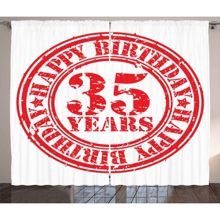 35th Birthday Curtains 2 Panels Set, Dated Display of Stamp with 35 ...