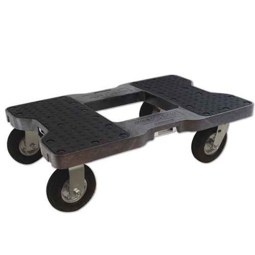SNAP-LOC AIR-RIDE DOLLY BLACK (USA!) with 1,500 lb. capacity, steel frame, strap option, 6 inch casters