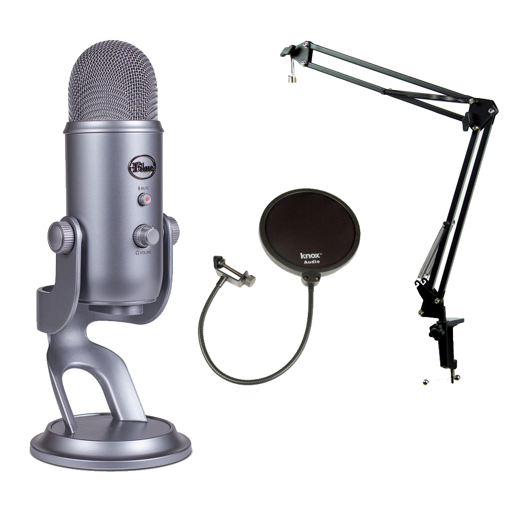 Blue Microphones YETI-SG Mic w Knox Boom Arm Stand, Shock Mount and Pop Filter by Blue Microphones