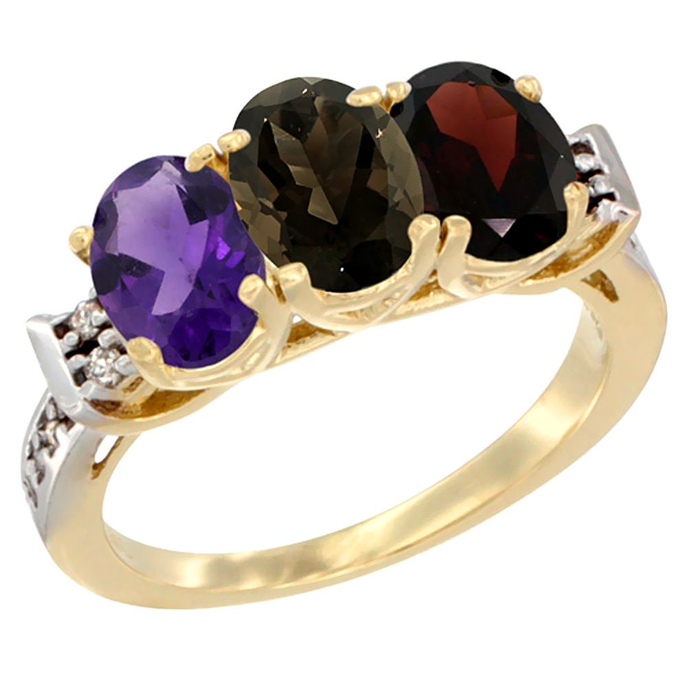 14K Yellow Gold Natural Amethyst, Smoky Topaz & Garnet Ring 3-Stone 7x5 mm Oval Diamond Accent, sizes 5 10 by WorldJewels