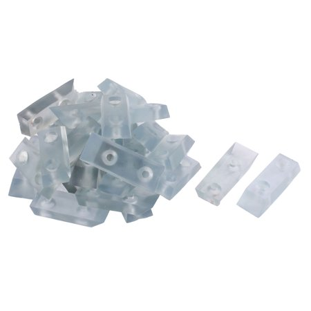 Unique Bargains 30 Pcs Antislip Rubber Rectangle 40mm x 14mm Chair Foot Cover Table Furniture Leg Protector Clear ()