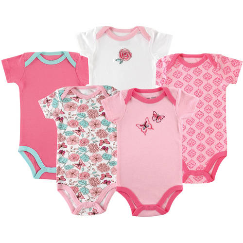 Luvable Friends Newborn Baby Girls Bodysuit 5-Pack Butterfly