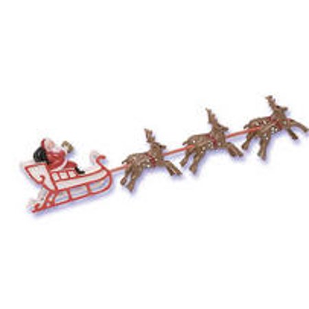 1pc Santa and Sleigh  Cake Cupcake Food Decoration Topper (2x8 inches)