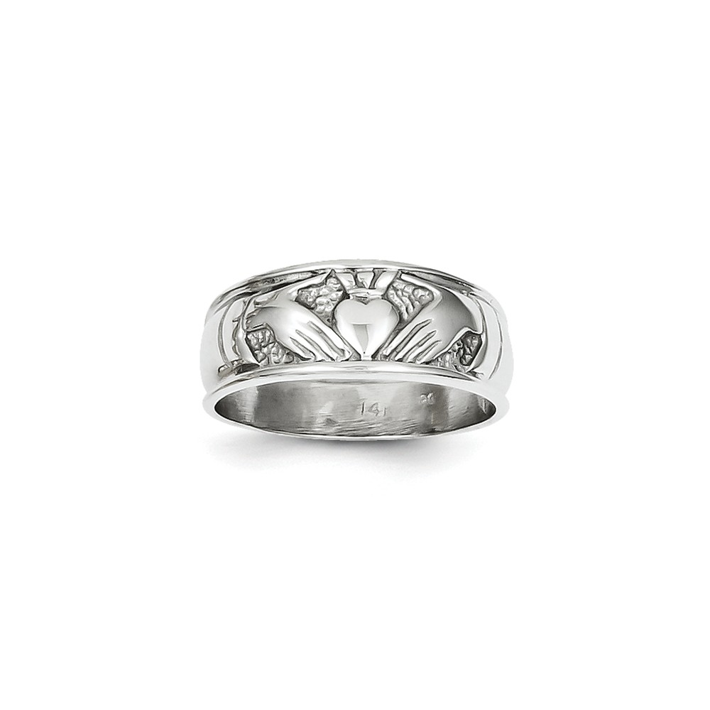 14k White Gold Ladies Claddagh Ring