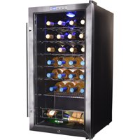NewAir Freestanding 27 Bottle Compressor Wine Fridge in Stainless Steel, Adjustable Chrome Racks and Exterior Thermostat