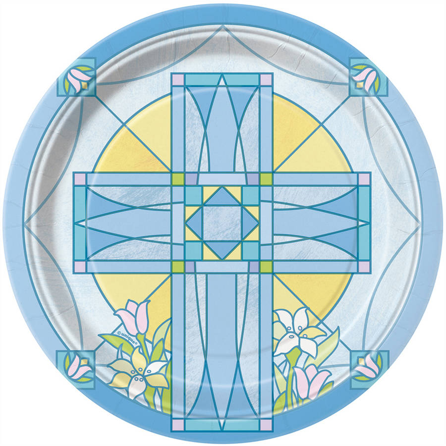 """7"""" Blue Sacred Cross Religious Party Plates, 8ct"""