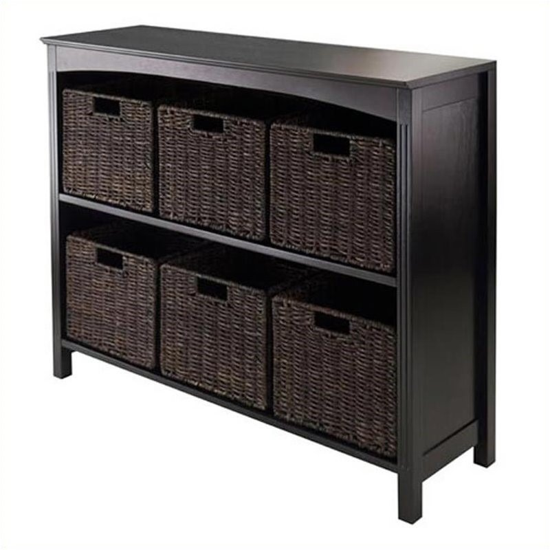 Pemberly Row 3-Tier Storage Shelf in Dark Espresso with 6 Baskets