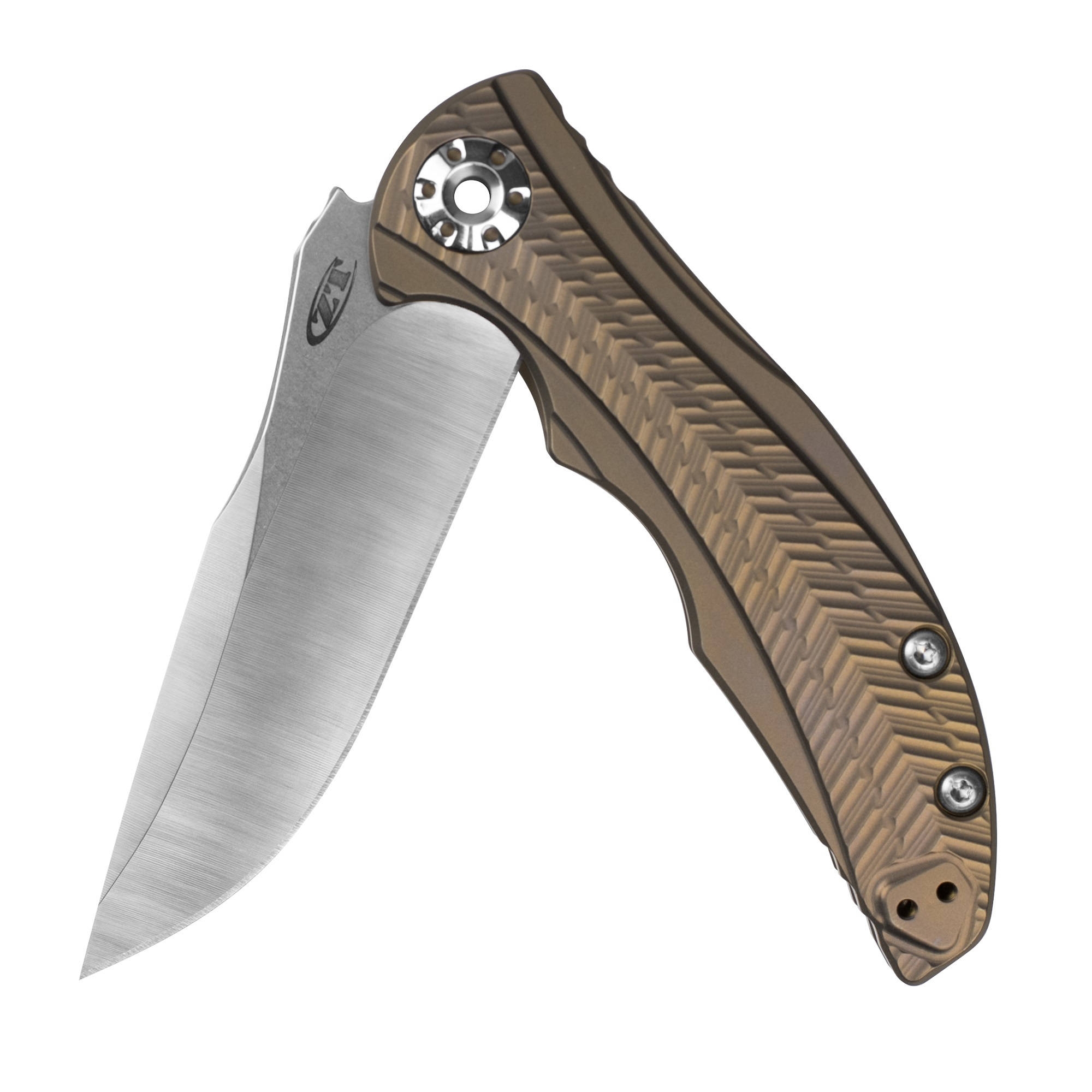 Zero Tolerance 0609 Pocketknife; 3.4-inch CPM 20CV Drop Point Blade with Two-Toned Finish; 3D Textured Titanium Handle, Anodized Bronze; KVT Ball Bearing Manual Open; Reversible Pocketclip; 3.3 oz