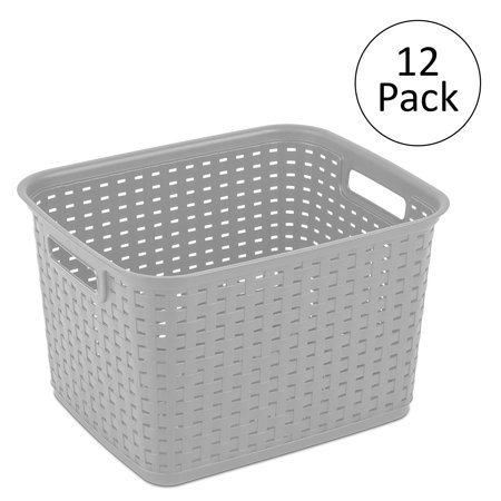 sterilite 12736 tall weave plastic laundry hamper storage basket gray 12 pack. Black Bedroom Furniture Sets. Home Design Ideas