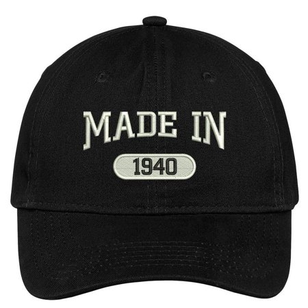 1940 Baseball (Trendy Apparel Shop 78th Birthday - Made In 1940 Embroidered Low Profile Cotton Baseball Cap )