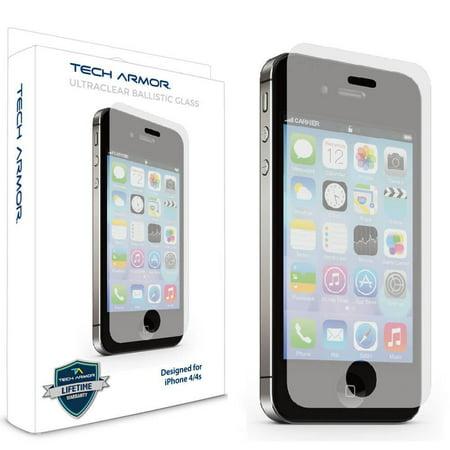 - iPhone 4 Glass Screen Protector, Tech Armor Premium Ballistic Glass Apple iPhone 4/4S Screen Protector [1]