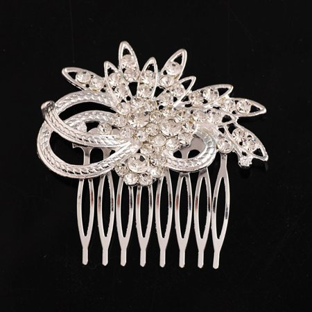 Tuscom Flower Hair Side Comb Silver Rhinestones Opal Crystal Vintage Bridal Hair Clips Accessories for Women Wedding (Small Silver Hair Clips)