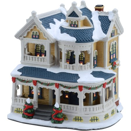 Christmas Houses Village.Holiday Time 7 5 Victorian House Christmas Village