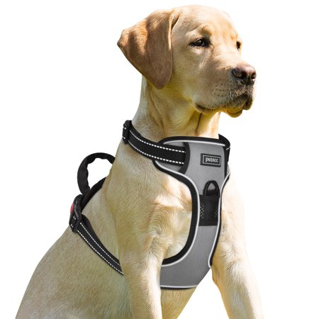 - Petacc Dog Harness No-Pull Pet Harness Adjustable Outdoor Pet Reflective Vest Dog Walking Harness with Postpositive D-Ring Buckle for Dogs, Grey
