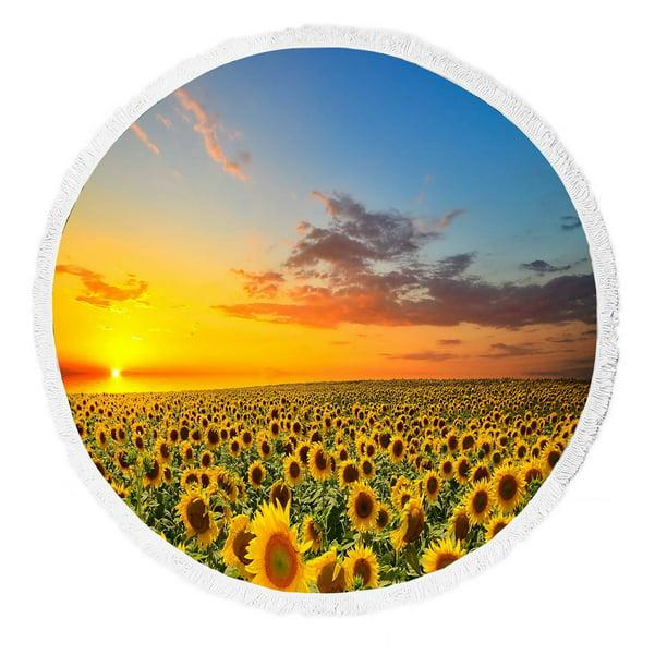Gckg Beautiful Sunset Scenery Beach Towel Nature Art Sunflower Garden Sunflowers Landscape Beach Towel Beach Blanket With Tassels Beach Throw Towel Yoga Mat Picnic Blanket Walmart Com Walmart Com