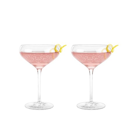 Garden Party: Floral Crystal Cocktail Coupe Set by Twine Crystal Barware Sets