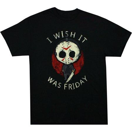 Friday the 13th Jason Wish It Was Friday Men's Black Shirt, XX-Large 13th Jason Hockey Jersey
