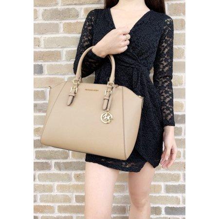 Milano Top Zip Shoulder Bag (Michael Kors Ciara Saffiano Large Top Zip Satchel Crossbody Dark Khaki )