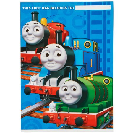 (4 Pack) Thomas and Friends Party Favor Treat Bags, 9.25