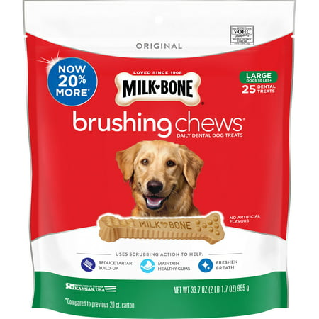 Milk-Bone Brushing Chews Daily Dental Dog Treats, Large, 33.7 Ounces, 25 Bones Per