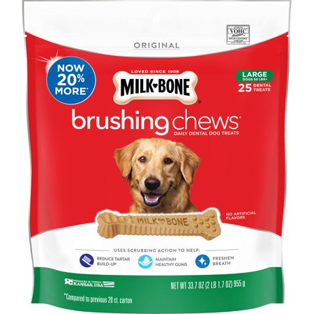 Milk-Bone Brushing Chews Daily Dental Dog Treats, Large, 33.7 Ounces, 25 Bones Per Bag