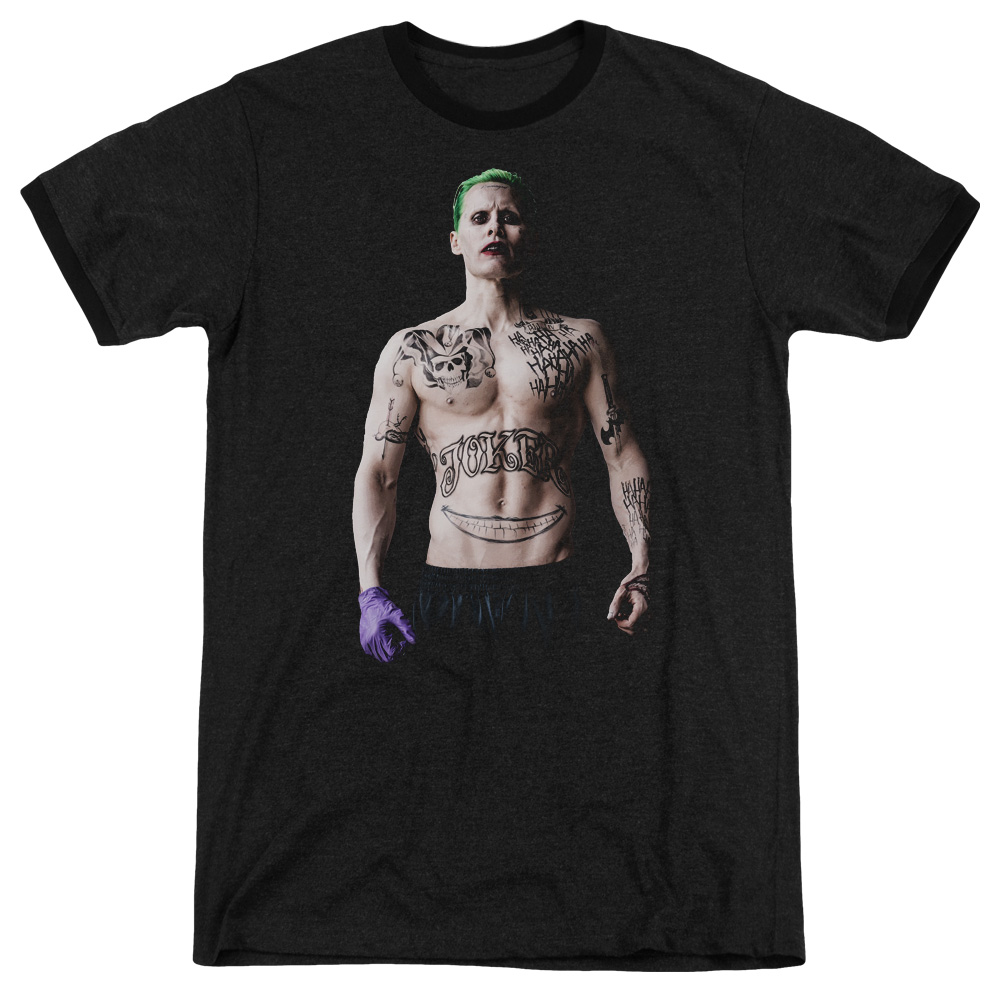 Suicide Squad Joker Stance Mens Adult Heather Ringer Shirt