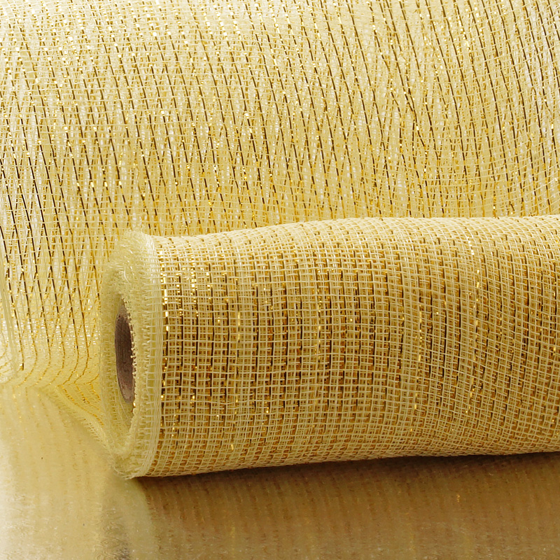 "10"" X 10 Yards Cream/Gold Metallic Striped Deco Mesh by Paper Mart"