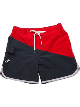 Men's Diagonal Splice Bulldog Swim Short Grey/Red Size X-Large, By TYR
