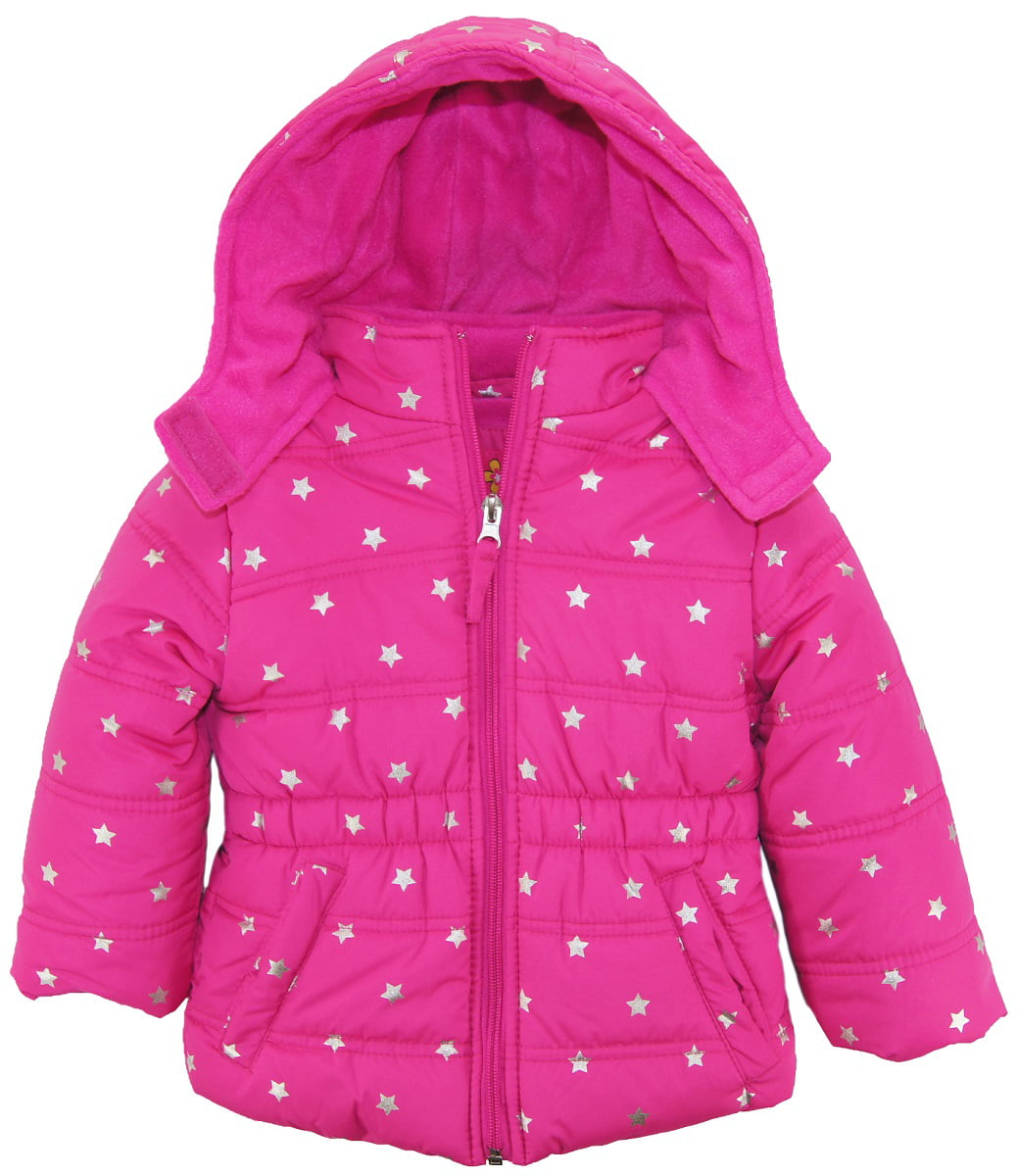 Pink Platinum Big Girls  Heart and Peace Puffer Jacket with Hat and Scarf
