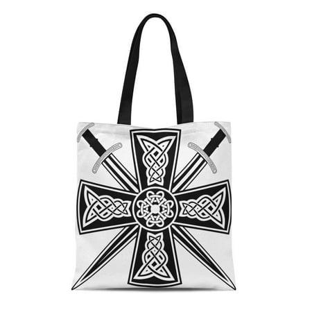 Tribal Sword (SIDONKU Canvas Tote Bag Pagan Celtic Cross the Crossed Swords Knot Medieval Tribal Reusable Shoulder Grocery Shopping Bags Handbag )