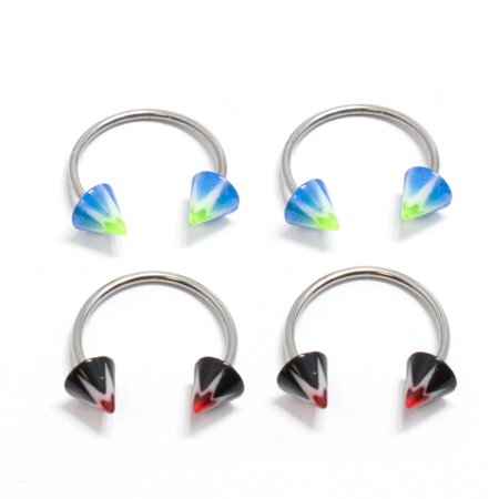 4pc Multi-functional Lip/Nose/Nipple/Eyebrown Captive Hoop Ring Barbell Tragus Cartilage Stud Earrings Spike End 18G 12MM