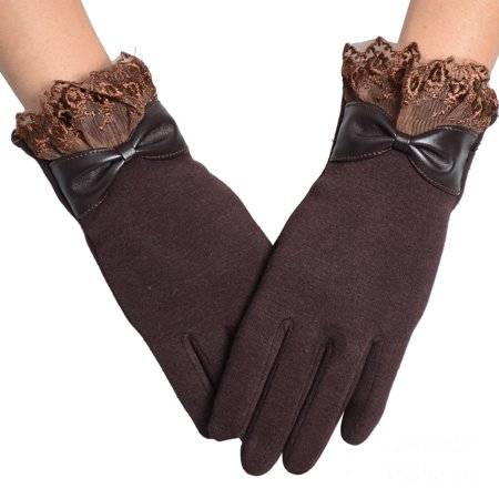 1Pair Winter Warm Touch Screen Riding Drove Gloves for Women Coffee](Skeleton Riding Gloves)