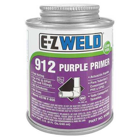 EZ WELD WW91202 Primer, 8 Oz, Purple, PVC, CPVC