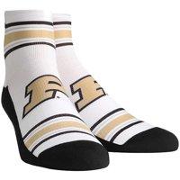 Purdue Boilermakers Rock Em Socks Classic Stripes Quarter-Length Socks - White - L/XL