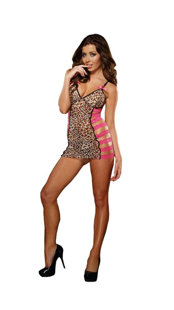 Dreamgirl Plus Size Leopard Print Stretch Mesh Chemise