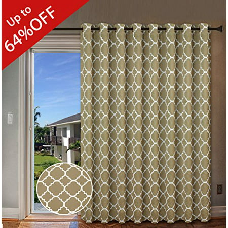 Sliding Window Sash - H.VERSAILTEX Beautiful Quatrefoil Pattern Thermal Insulated Blackout Patio Curtains, Antique Grommet Decorative Sliding Door Curtain Panel, W100 x L84 inch - Taupe (Set of 1)