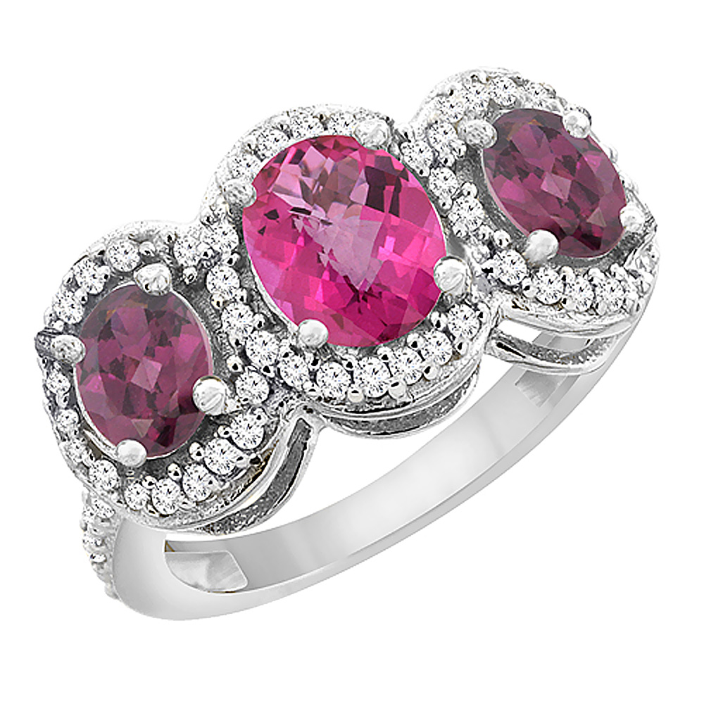 14K White Gold Natural Pink Topaz & Rhodolite 3-Stone Ring Oval Diamond Accent, size 5 by Gabriella Gold