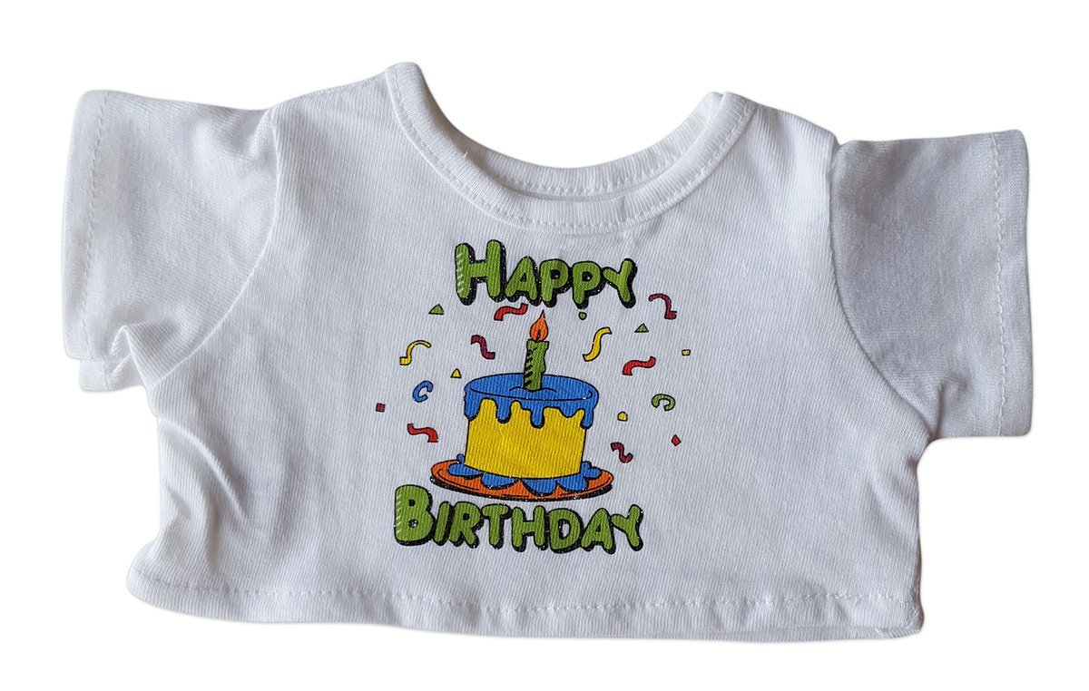 """Happy Birthday T-Shirt Fits Most 14"""" 18"""" Build-a-bear, Vermont Teddy Bears, and... by Animaland"""